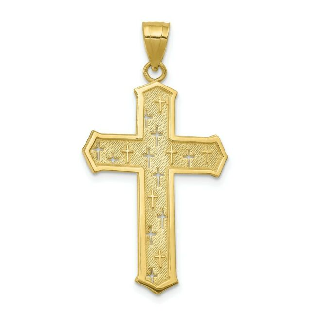 35mm x 21mm Solid 925 Sterling Silver Textured and Cross Pendant Charm