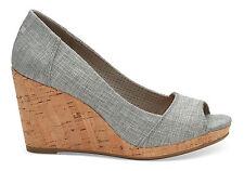$79 Toms Stella Metallic Woven Peep Toe Wedge Drizzle Grey 5.5 ***Floor Model