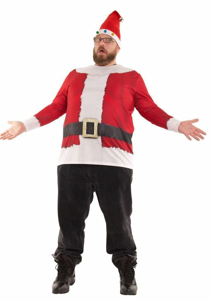 Big Man Santa Suit Tee Long Sleeve Shirt -  Size 4XL - Hat not included
