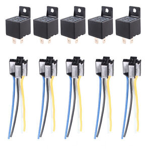 5 x car truck auto 12v 40a 40 amp spst relay relays 4 pin. Black Bedroom Furniture Sets. Home Design Ideas