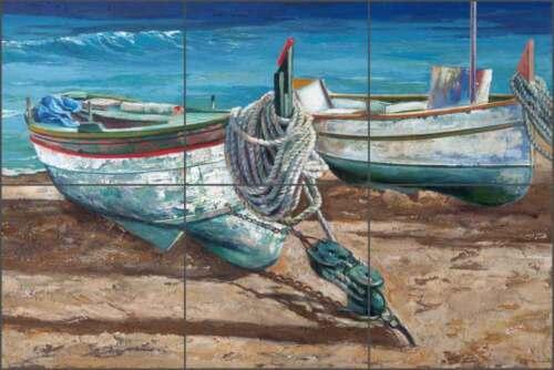 Ceramic Tile Backsplash Mural Cook Mediterranean Seascape Boats Art GCS007