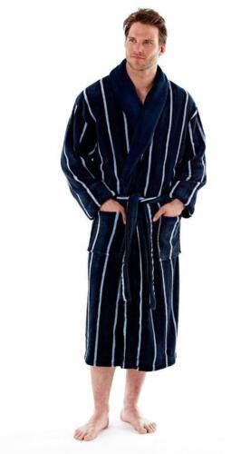 Hommes De Luxe Super Doux cisaillée en polaire bleu marine à rayures Robe Peignoir M L XL