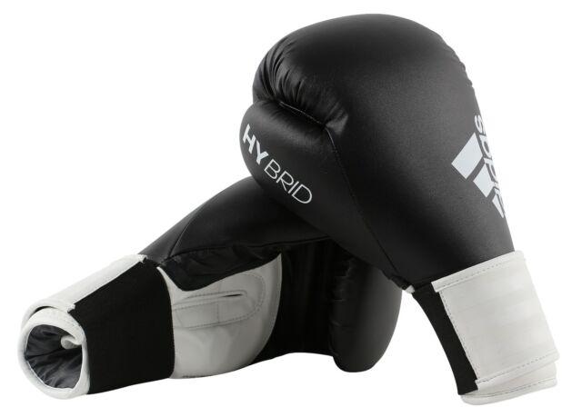 3f512c4b5d Adidas Hybride 100 Gants de Boxe Noir Blanc Entraînement 6 8 10 12 14 16 oz