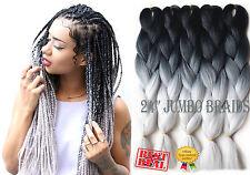 "5x Packs 24"" Black & Light Grey Ombre Dip Dye Kanekalon Braiding Hair Extensions"