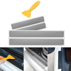 4x Einstiegsleiste Tür Leisten Verkleidung Design Folie Rakel Carbon Silber Grau