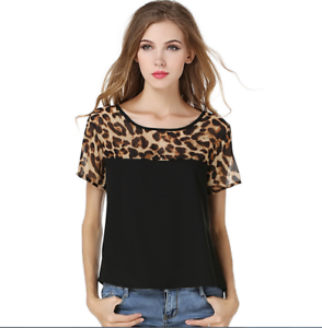 Women-Leopard-Chiffon-T-Shirt-Casual-Loose-Casual-Short-Sleeve-Tops-Blouse