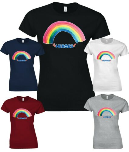 Women T-shirt Thank You To NHS Heroes Rainbow Love Doctor Stay Home W3791