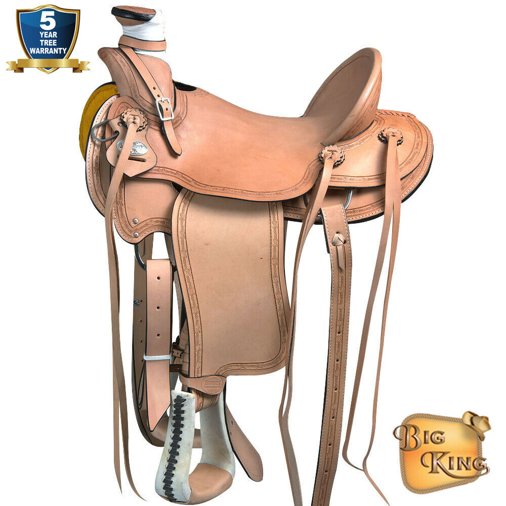 15 16 16 16 17 in Sella Western Cavtuttio Wade Ranch in pelle Roping Tan UD069 f0e