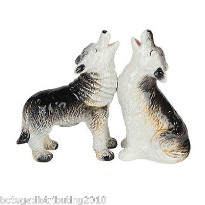 Ceramic Howling Wolves Salt and Pepper Shaker  Animals Magnetic S&P Wild Life
