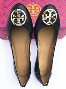 NIB Tory Burch Women's Benton 2 Travel Ballet Nappa Leather Flats Shoes Black8.5