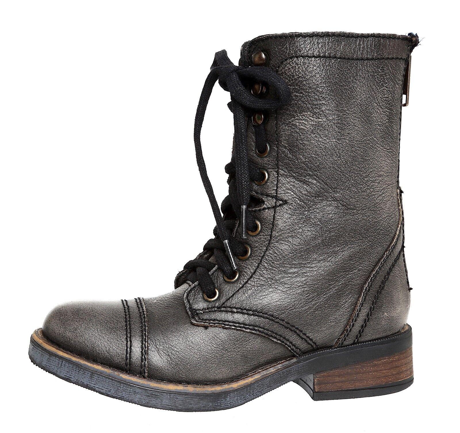 Steve Madden Munch Military Leather Boot Grey Women Sz 5.5 M 4001