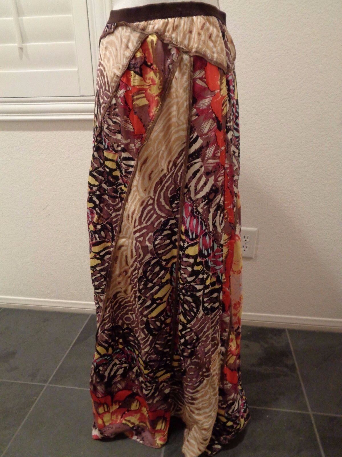TINY Anthropologie  188 FLUTTERING PATCHWORK Maxi SKIRT-100% Silk-Butterfly-M