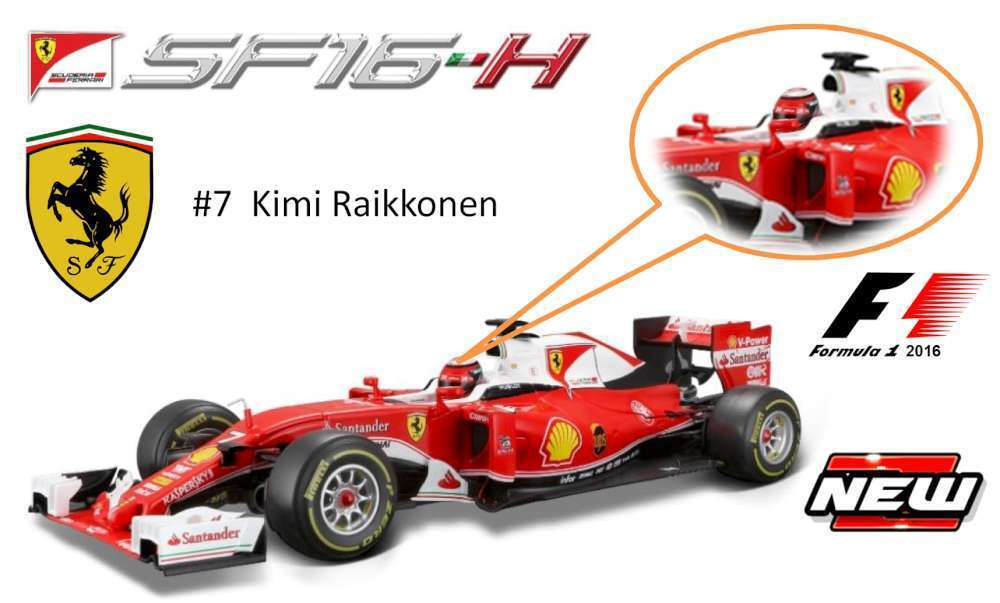 BBURAGO 16802R 16802K FERRARI F1 SF-16H model cars Vettel Raikkonen 2016 1 18th