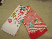 Cookie Kitchen Bath Hand Towel With Tags Candy Snowman Set Of 2
