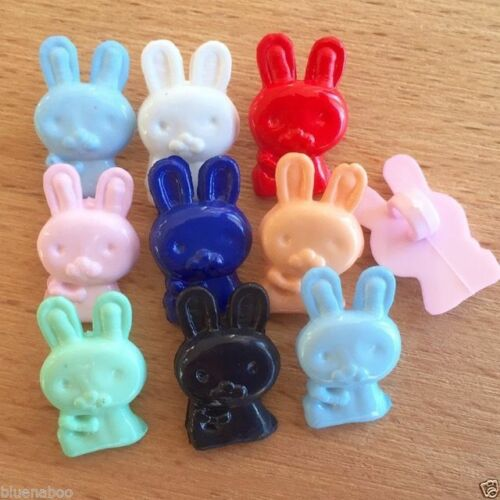 10 x mixed colour  bunny rabbit buttons 17mm x 10mm Red navy  pink  mint white