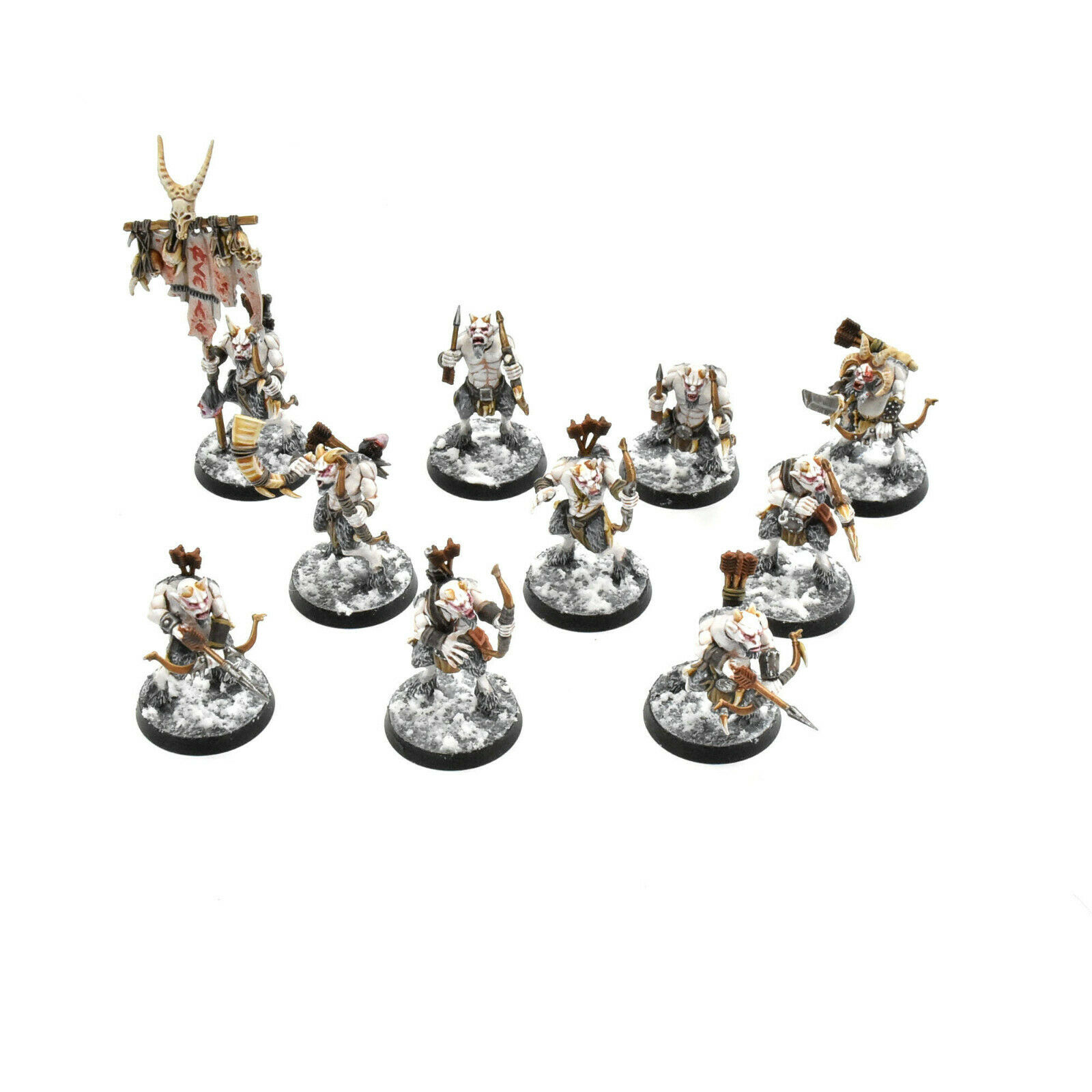BEASTS OF CHAOS 10 ungors with bow PRO PAINTED Warhammer  Sigmar BeastHommes  dégagement jusqu'à 70%