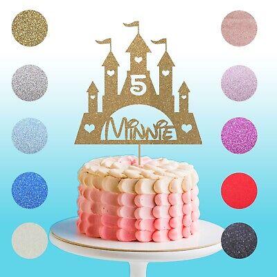 Brilliant Personalised Glitter Disney Castle Princess Birthday Cake Topper Personalised Birthday Cards Beptaeletsinfo