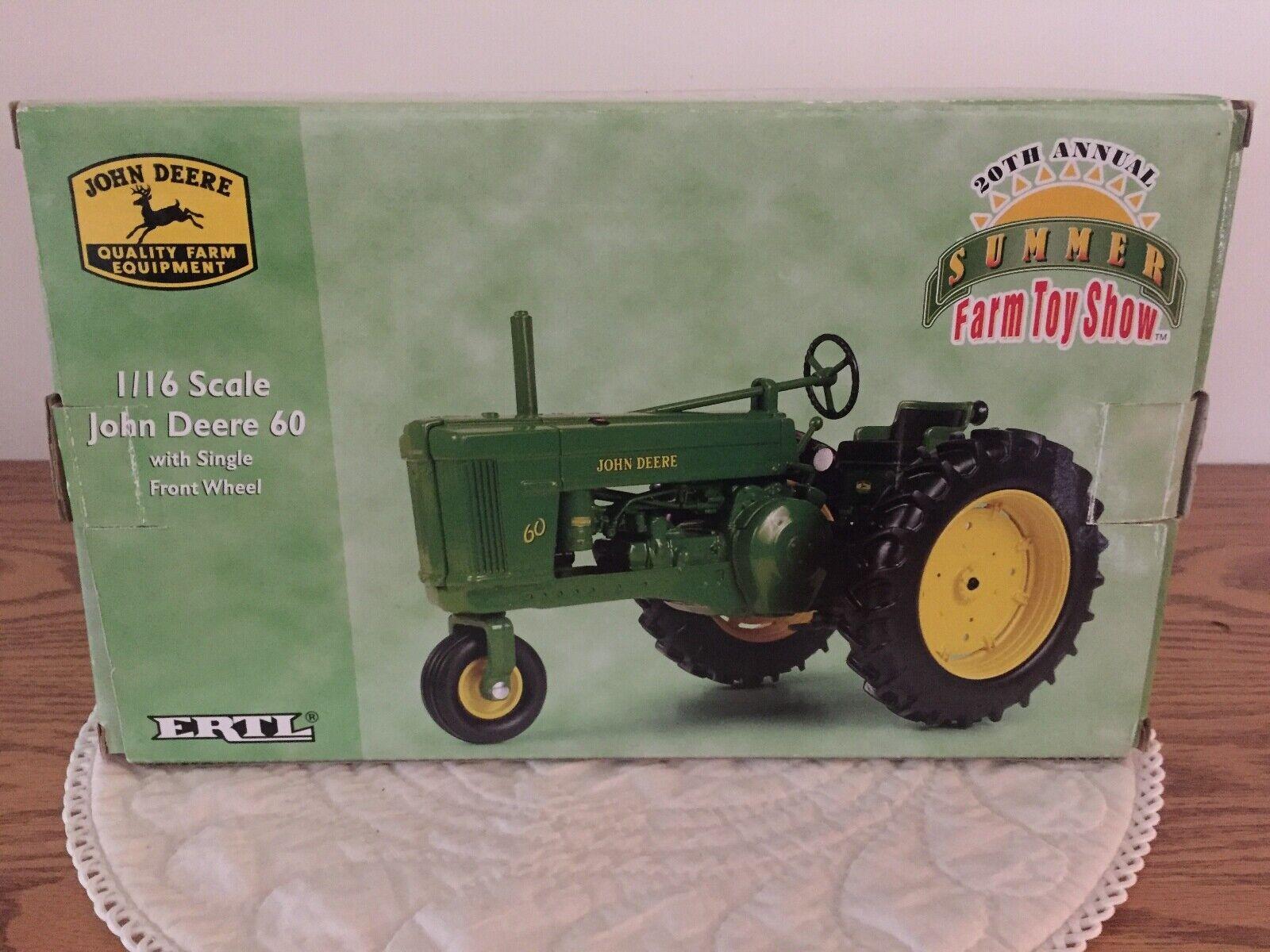 John Deere 60 Trattore 20th annuale estiva Fattoria giocattolo mostrare IN SCALA 116 NUOVO in scatola da ERTL