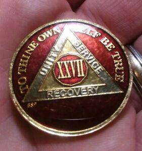 26 Year AA Sobriety Coin Medallion Rich Mandarin Red Enamel 26th Year XXVI BSP