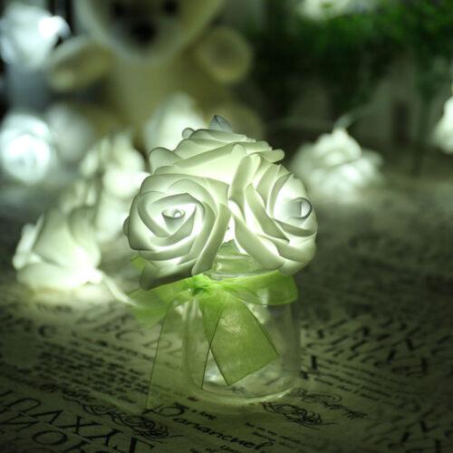 2.5M 20LED Rose Flower Fairy String Lights Wedding Garden Party Christmas Decor
