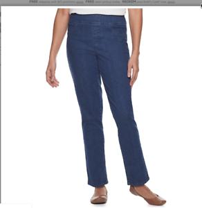 Croft  /& Barrow Women/'s Straight Leg Mid Rise Comfort Waist  Pull On Pants