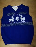 Gymboree Joyful Holiday Blue Reindeer Sweater Vest 12-18 Mo Free Shipping