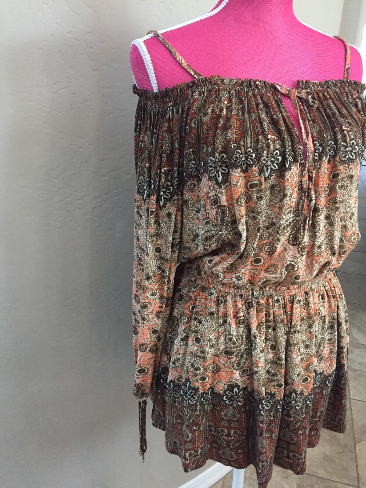 Free People Romper Size M Brown Tan Floral Long Sleeve Off Shoulders