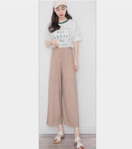 Women Chiffon Pleated Wide Leg Crop Trousers High Waist Palazzo Culotte Pants