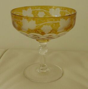 Details about MOSER BOHEMIAN AMBER GRAPE VINE FACETED CRYSTAL CHAMPAGNE  GLASS 4 1/4
