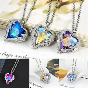 Fashion Girls Angel Wings Long Necklace Heart Rhinestone Crystal Pendant Jewelry