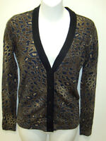 Tory Burch Sierra Leopard Print Wool V-neck Cardigan Sweater Xs
