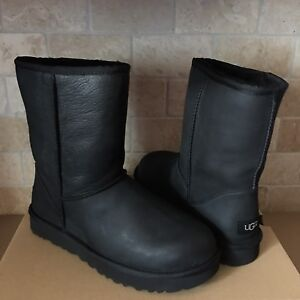 332a6dea82ea UGG Classic Short Black Water-resistant Leather Fur Boots Size US 9 ...
