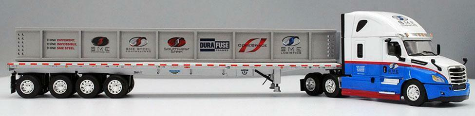 FREIGHTLINER CASCADIA SME STEEL 4 AXLE FLATBED I BEAM LOAD 126 ONLY 1 64 60-0673