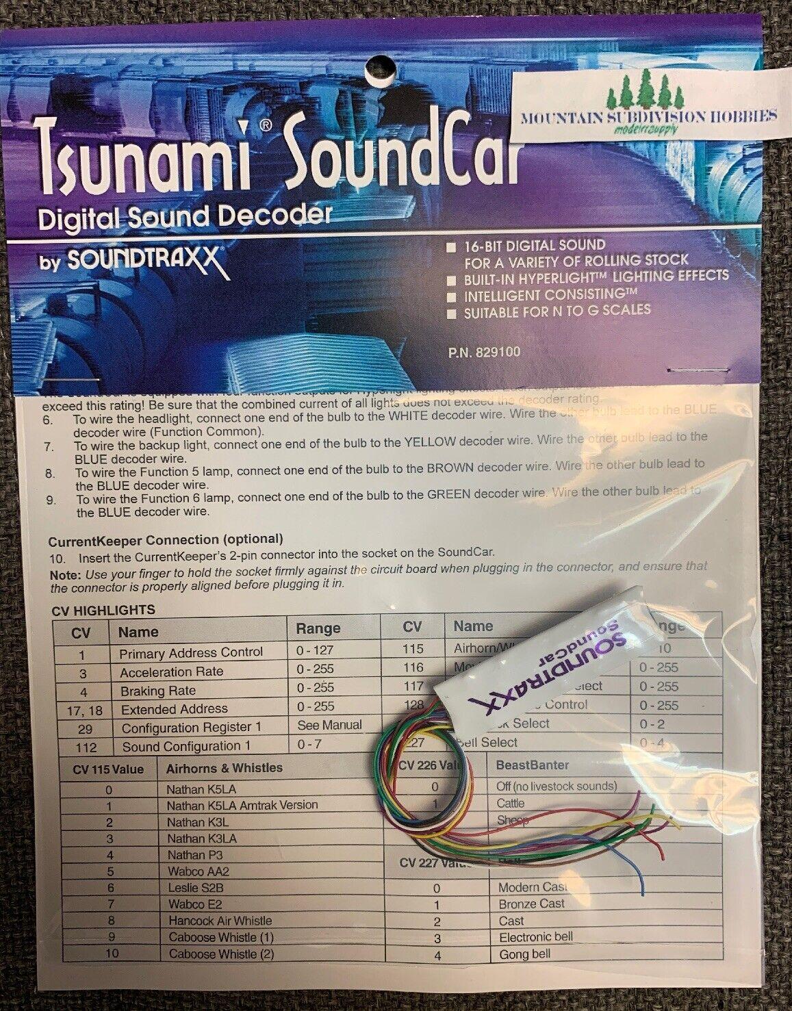 comprar descuentos Decodificador de de de Sonido SoundCoche Soundtraxx Tsunami 829100 N Ho O G escalas modelrrsupply  suministro de productos de calidad