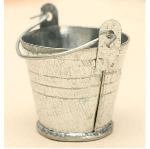 FD3398 Dollhouse Miniature Bucket Drum Metal Iron Pail Home Kitchen Bar X1 ☆