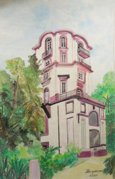 """edificio Villa Herrenhausansicht ""acuarela Firmado Karl-heinrich Bergmann 2010"