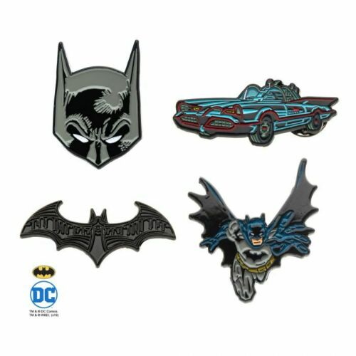 OFFICIAL DC COMICS BATMAN THE DARK KNIGHT BATMOBILE 4 PIECE PIN BADGE SET