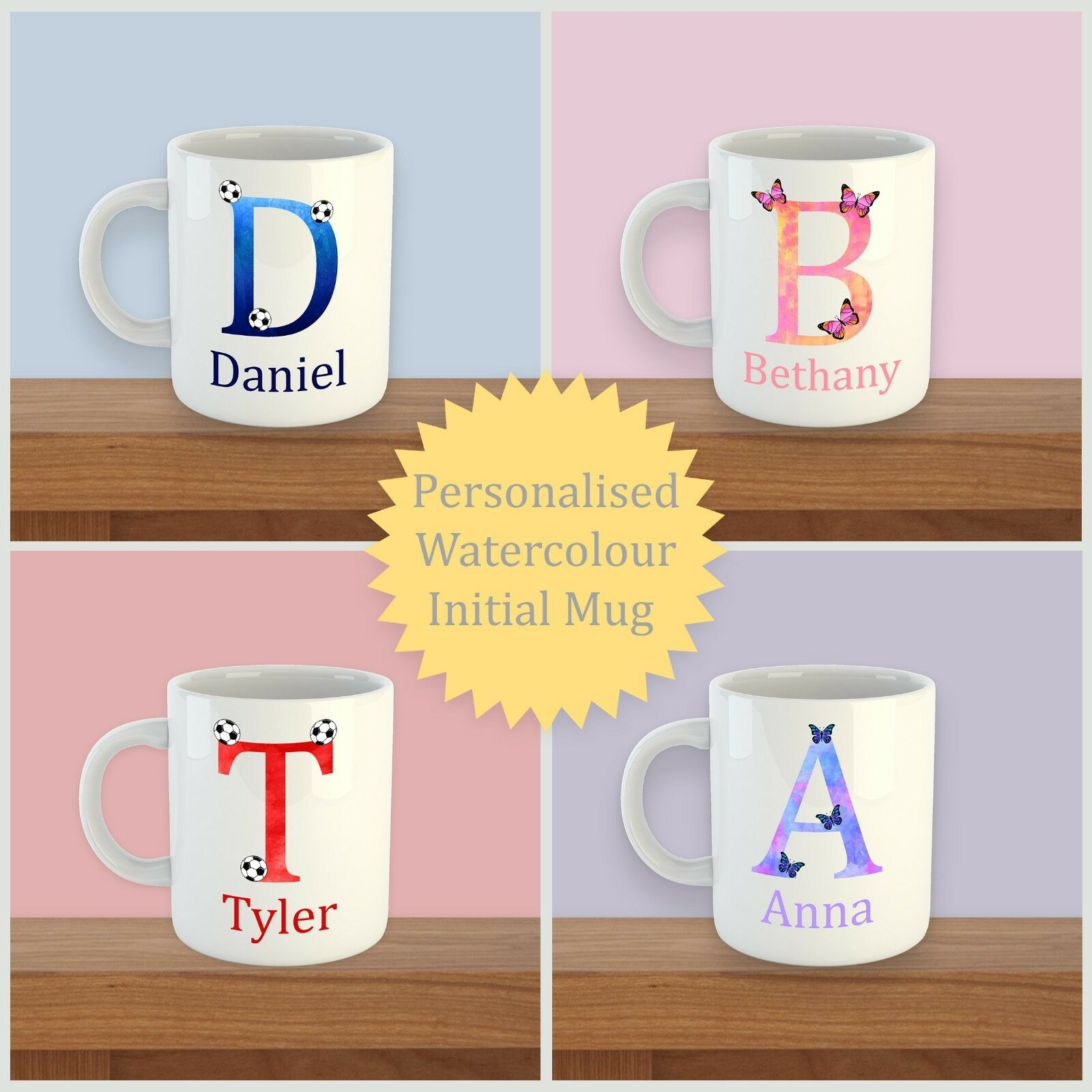 PERSONALISED Mug Initial with Name Drink Football Butterfly bulk buy
