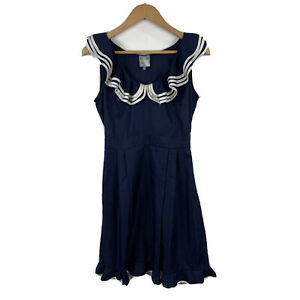 Karen-Walker-Hi-There-Womens-Dress-Size-8-Navy-Blue-Frilly-Gorgeous