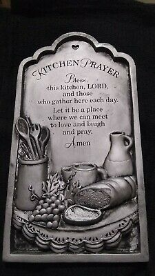 New Pewter Kitchen Wall Plaque Door Christian Religious Prayer 72173 Decor Ebay