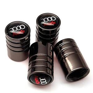 New-Audi-car-tyre-valve-dust-caps-pack-of-4x-metal-grey-wheel-valve-caps