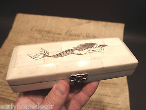 Antique-Style-Mermaid-Scrimshaw-Etched-Bone-amp-Wood-Trinket-Stamp-Jewelry-Box