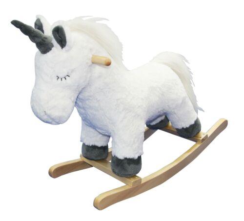 Cute White Plush Unicorn Fantasy Wooden Rocking Horse Animal Rocker Toy