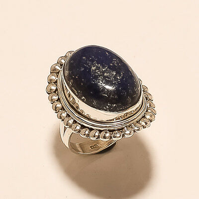 Natural Afghan Blue Lapislazuli Ring 925 Sterling Silver Handcrafted Jewelry New