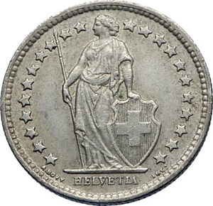 1960-SWITZERLAND-SILVER-1-2-Francs-Coin-HELVETIA-Symbolizes-SWISS-Nation-i71944