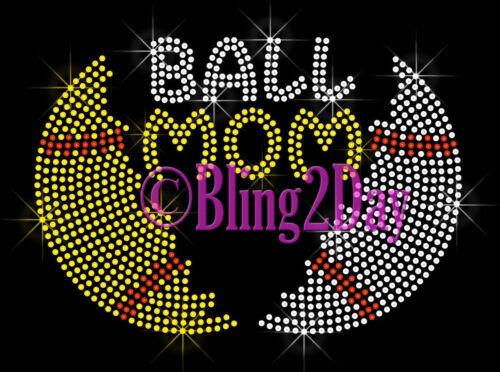 Split Sports Ball Iron On Rhinestone Transfer Hot Fix Bling Ball Mom