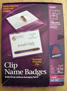 40 avery 5384 clip name badge holders w inserts 3 x4 ebay