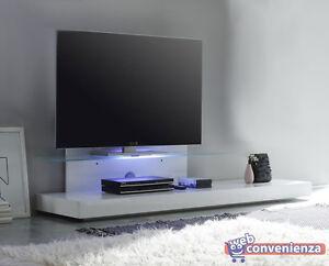 Mensole In Vetro Con Led.Dettagli Su Mobile Porta Tv Line Base Tv Bianco Con Mensola In Vetro E Luci Led Rgb A Scelta