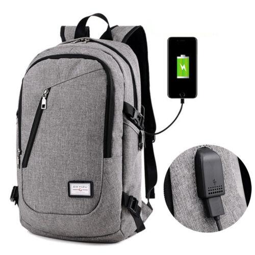 ANTIFURTO Uomo USB CON PORT Zaino Notebook Portatile Viaggio Borsa per la Scuola