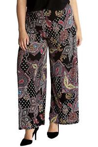 58544d9d0c4 Details about New Womens Plus Size Trousers Ladies Paisley Print Palazzo  Pants Wide Leg Flared